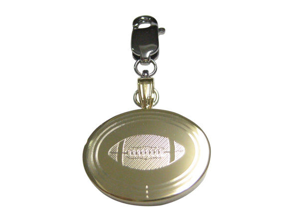 Gold Toned Etched Oval Football Pendant Zipper Pull Charm