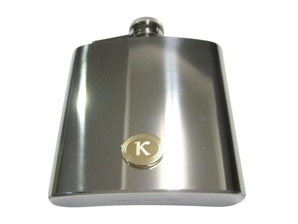 Gold Toned Etched Oval Greek Letter Kappa Pendant 6oz Flask