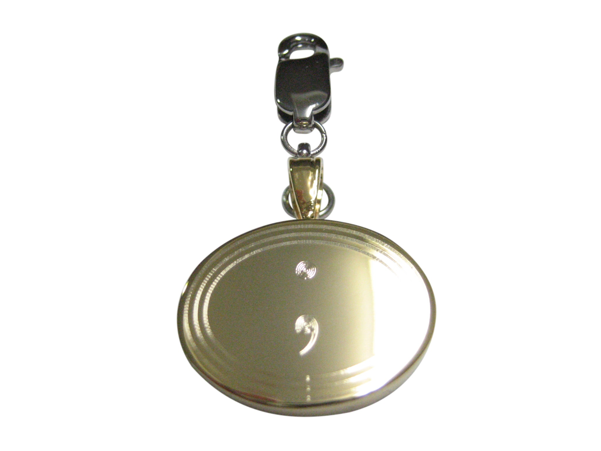 Gold Toned Etched Semicolon Sign Pendant Zipper Pull Charm