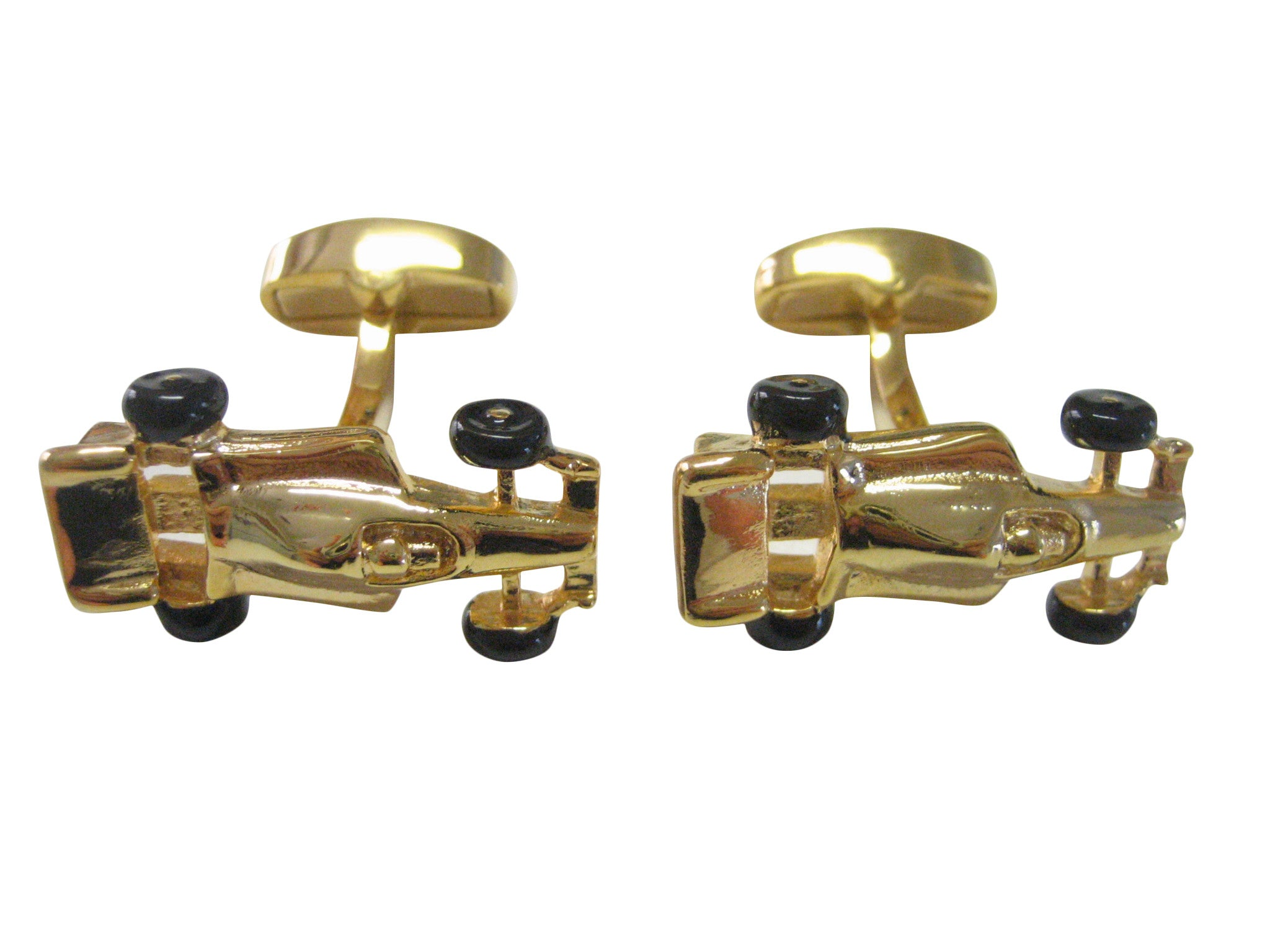 Gold Toned F1 Race Car Cufflinks