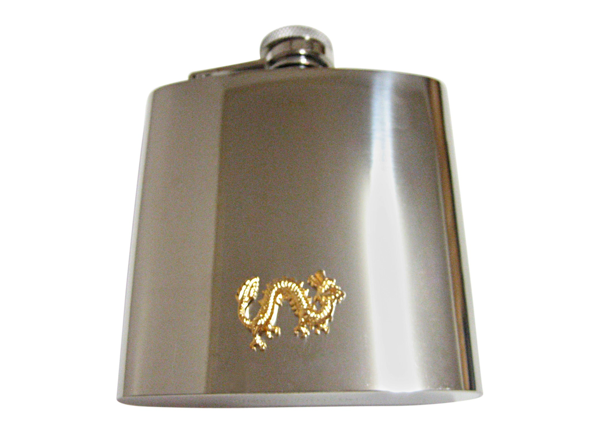 Gold Toned Dragon 6 Oz. Stainless Steel Flask