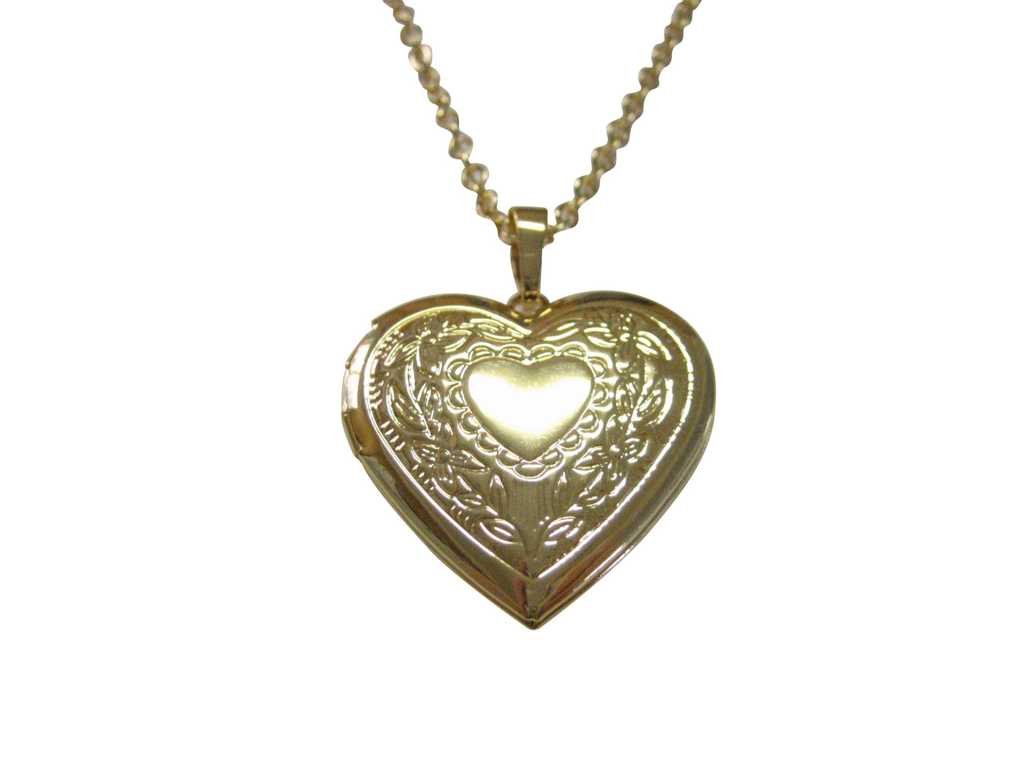 Gold Toned Heart Locket Pendant Necklace