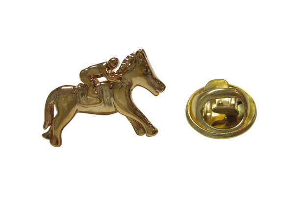 Gold Toned Horse Racing Jockey Lapel Pin