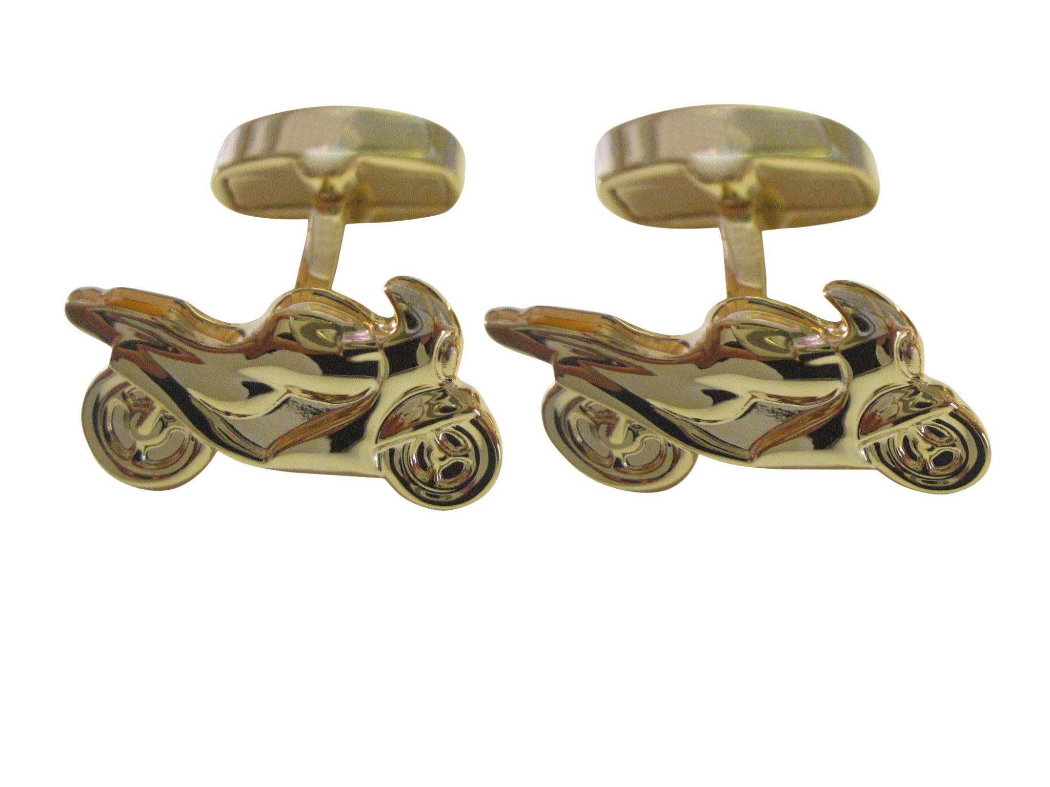 Gold Toned Motorcycle Cufflinks