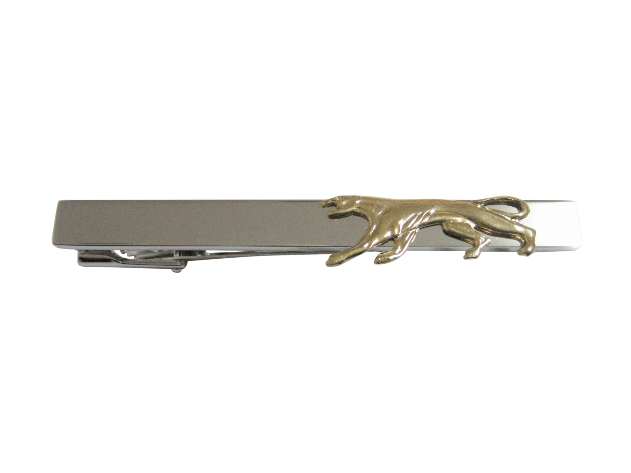 Gold Toned Panther Cat Animal Pendant Square Tie Clip