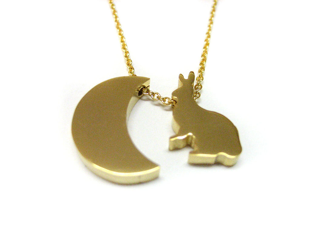 Gold toned Rabbit and Moon Necklace