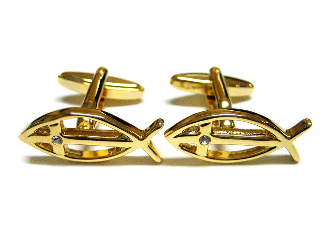 Gold Plated Religious Fish Cufflinks