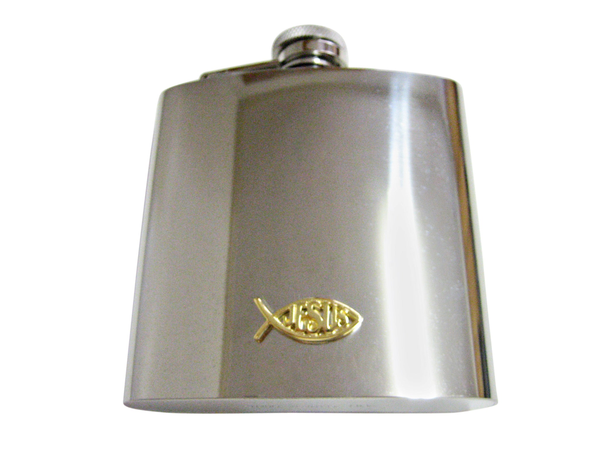Gold Toned Religious Jesus 6 Oz. Stainless Steel Flask