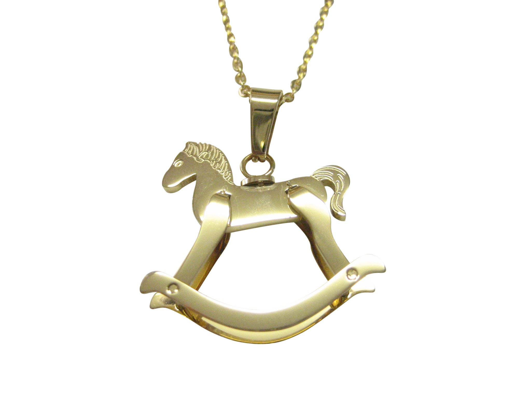 Gold Toned Rocking Horse Pendant Necklace