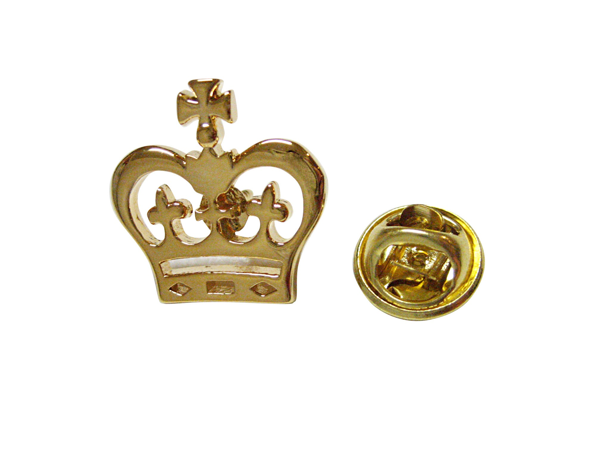 Gold Toned Round Crown Lapel Pin