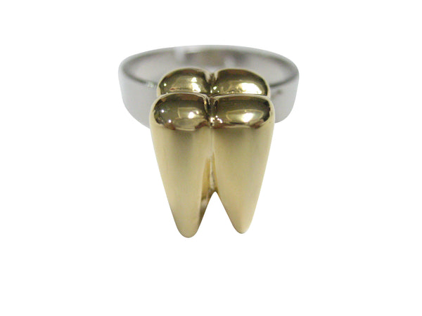 Gold Toned Shiny Dental Tooth Teeth Adjustable Size Fashion Ring