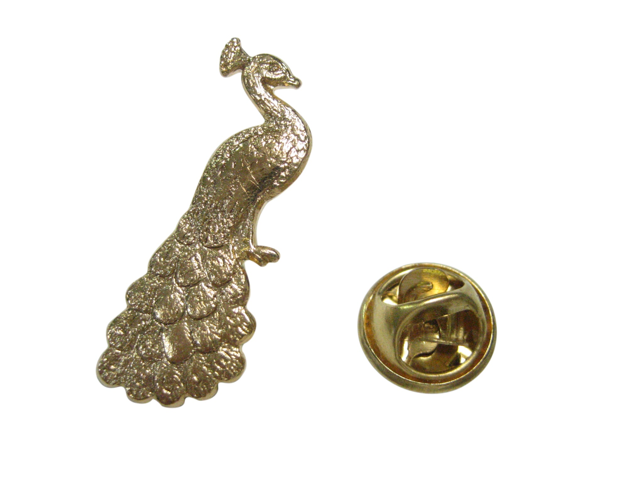 Gold Toned Sitting Peacock Bird Lapel Pin
