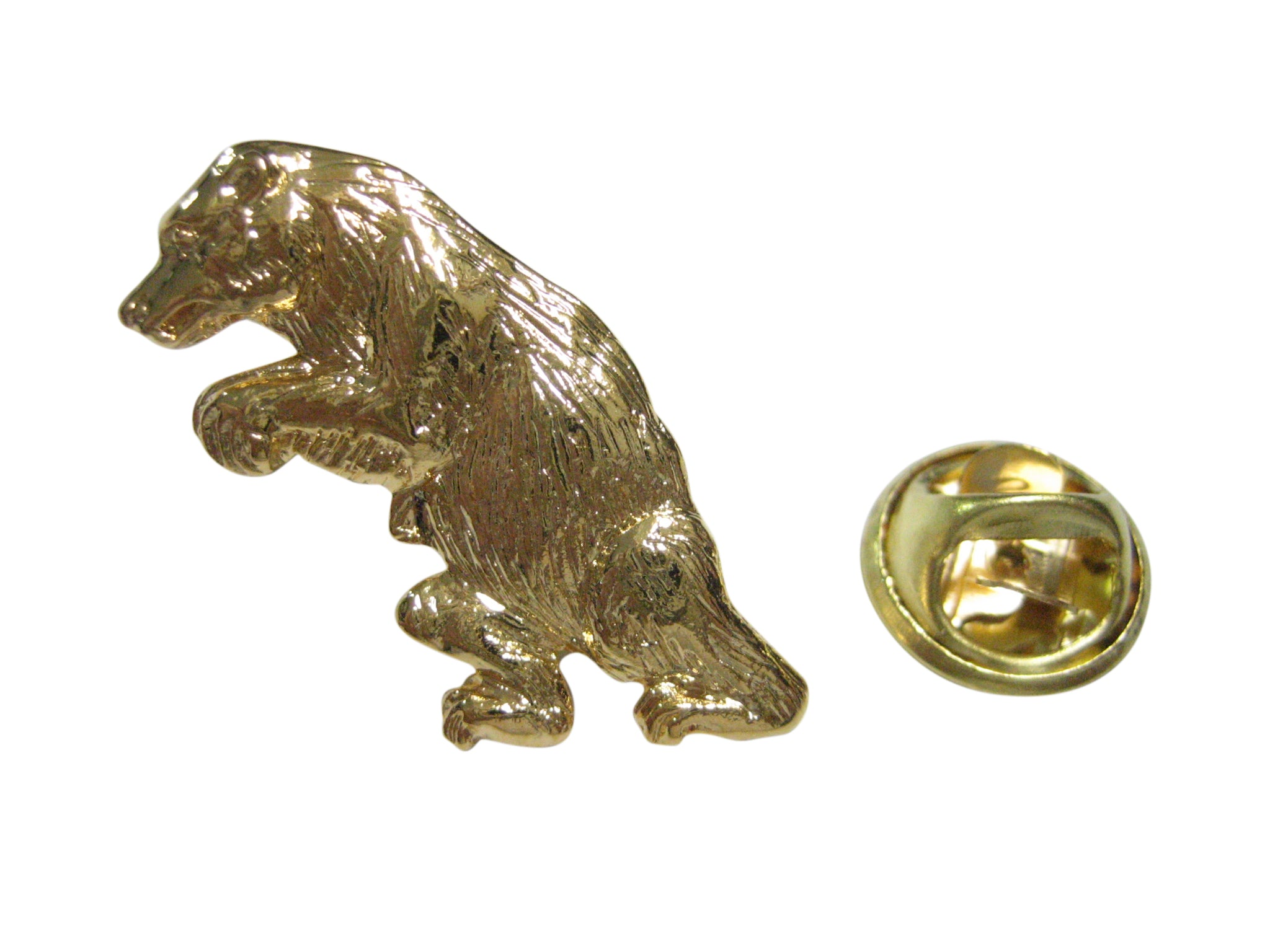 Gold Toned Standing Upright Bear Lapel Pin