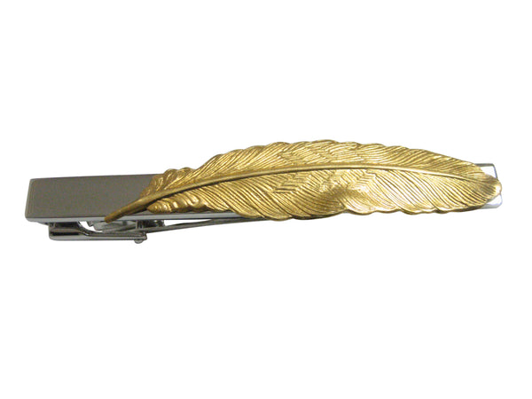 Gold Toned Textured Feather Pendant Square Tie Clip