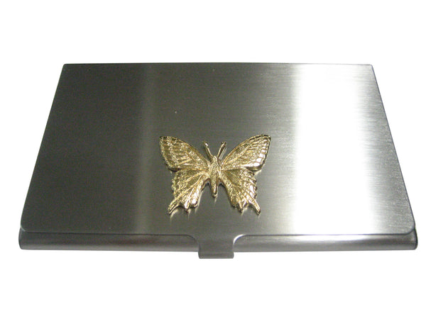Gold Toned Textured Large Butterfly Business Card Holder