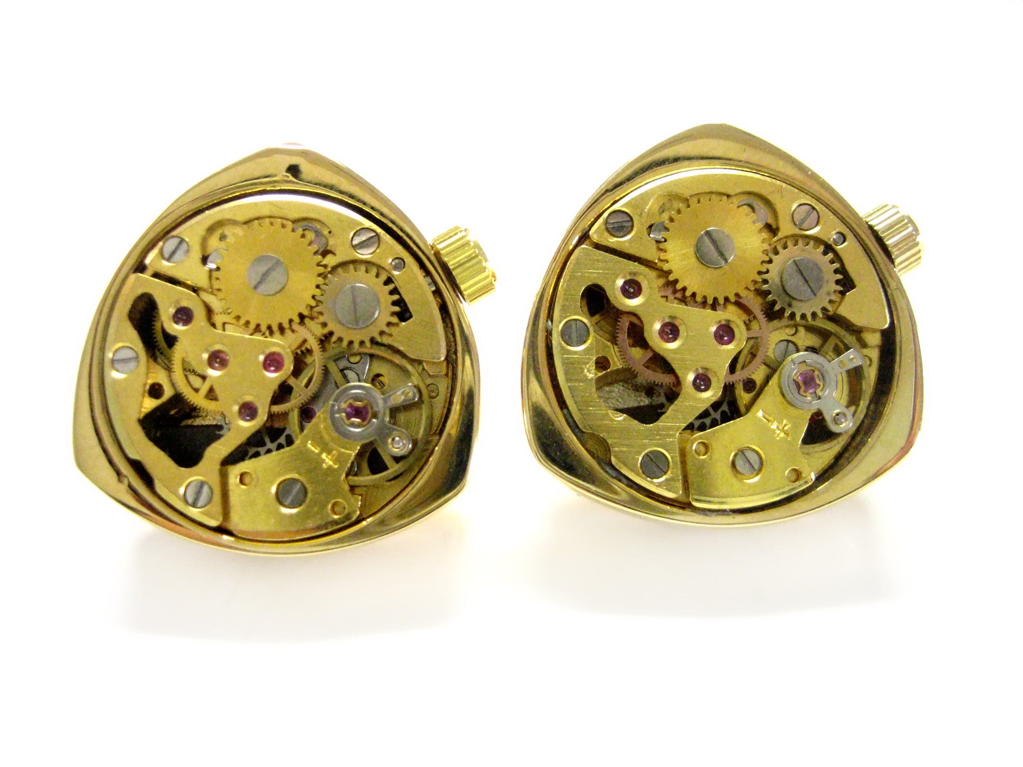 Gold Toned Watch Gear Cufflinks