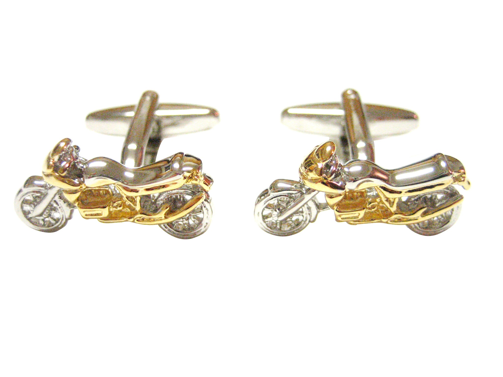 Gold and Silver Toned Dirt Bike Cufflinks