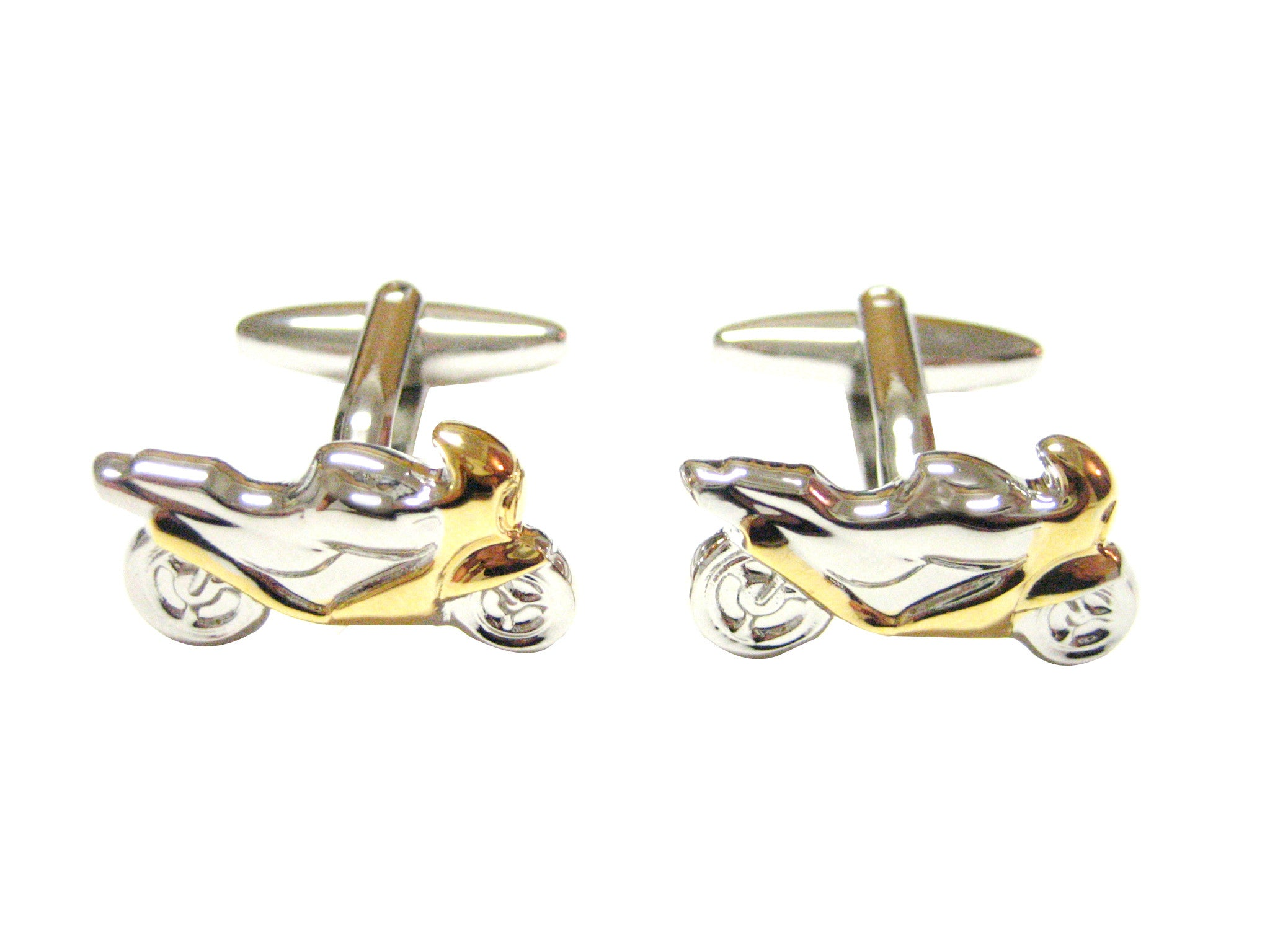 Gold and Silver Toned Motorcycle Cufflinks