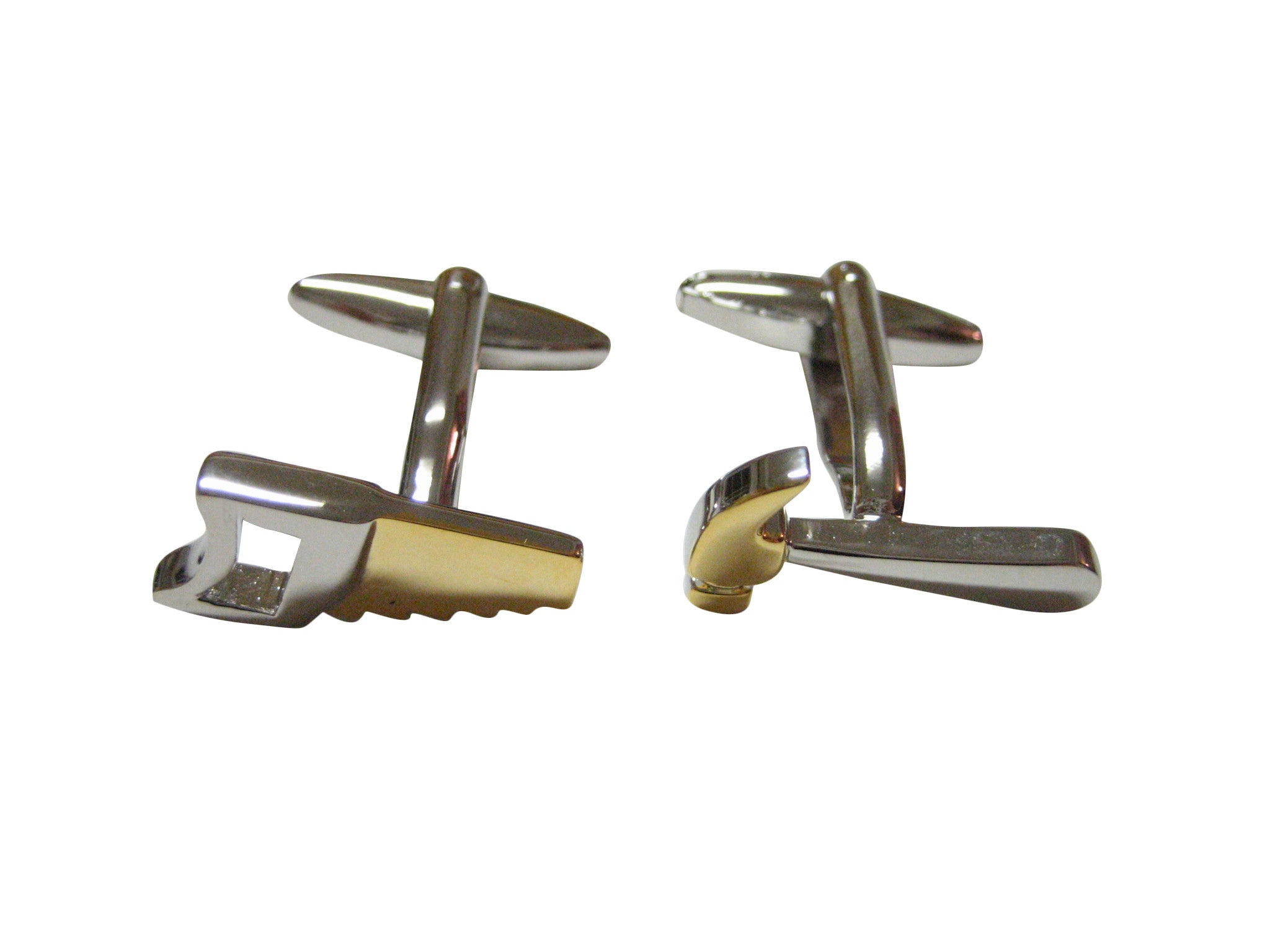 Gold and Silver Toned Saw and Hammer Cufflinks