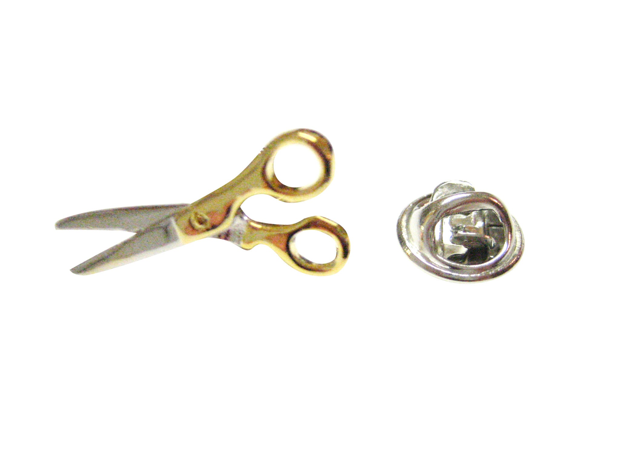 Gold and Silver Toned Scissor Lapel Pin