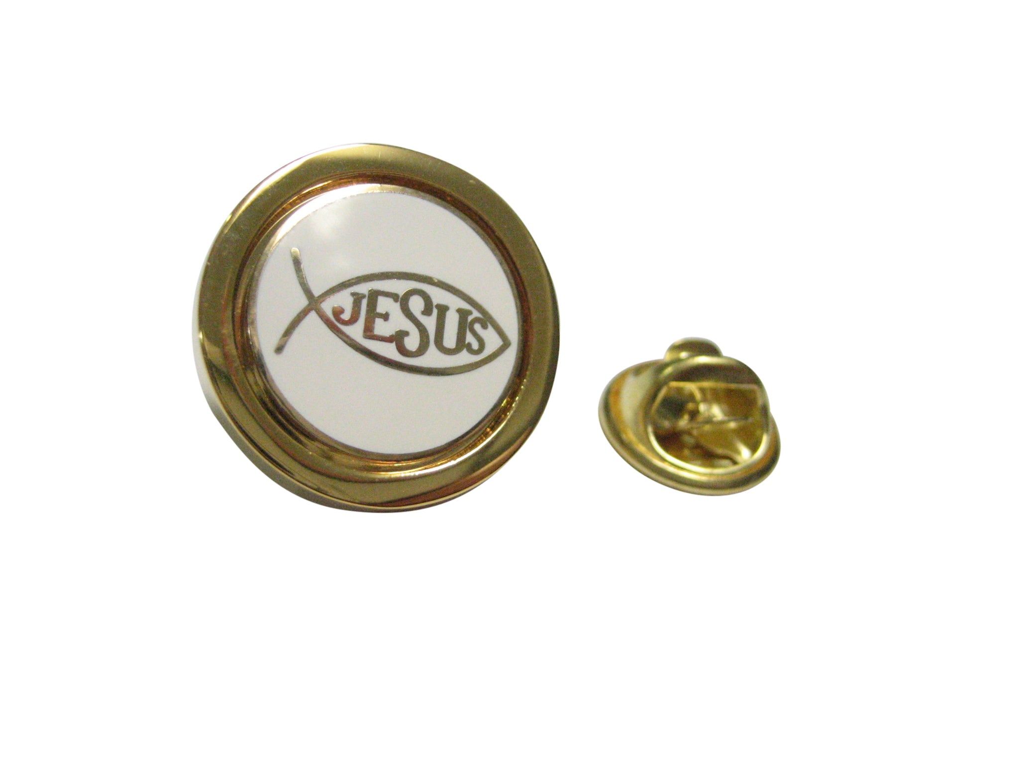 Gold and White Toned Religious Ichthys Jesus Fish Lapel Pin