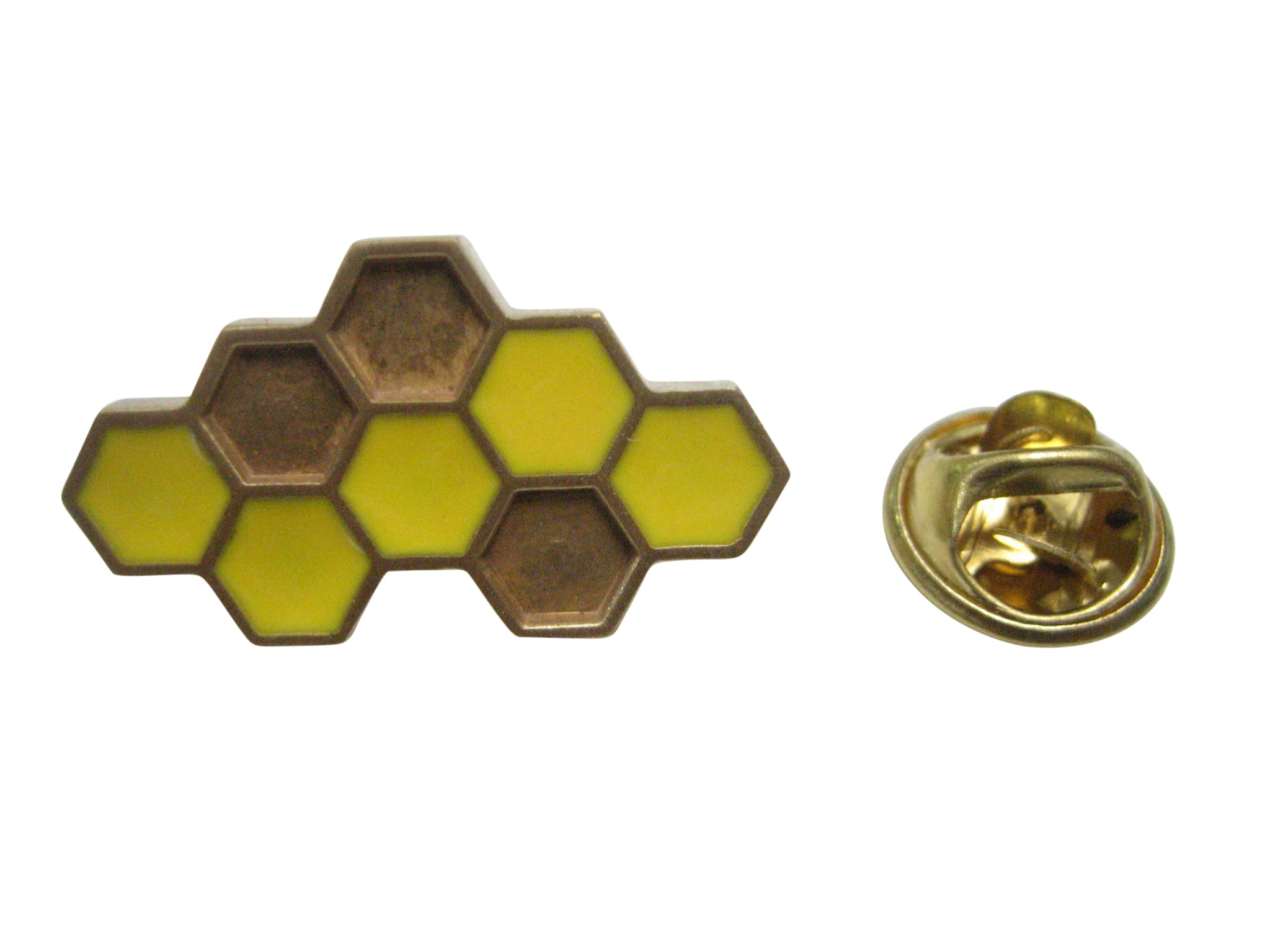 Gold and Brown Toned Honey Bee Honey Comb Lapel Pin
