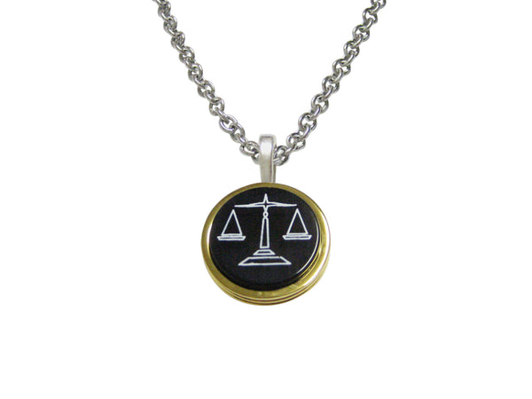 Golden Scale of Justice Law Pendant Necklace