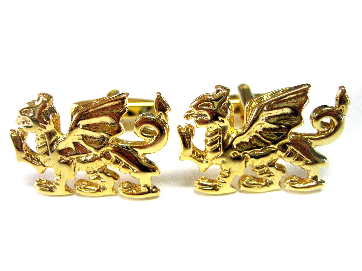 Golden Welsh Dragon Cufflinks