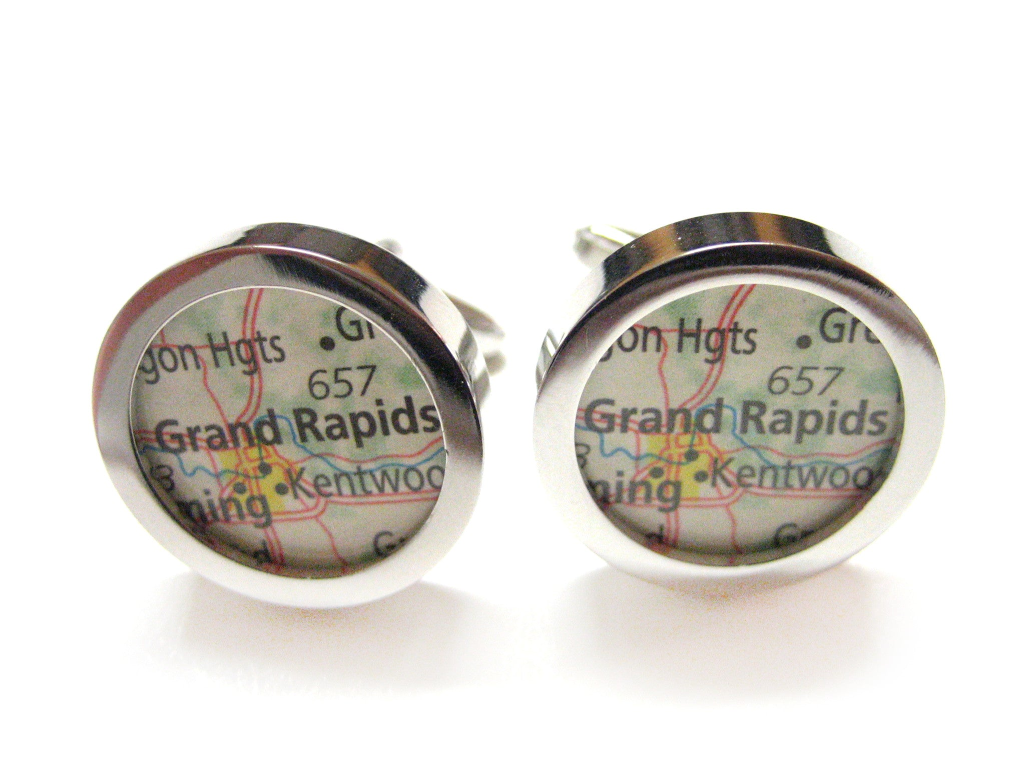 Grand Rapids Michigan Map Cufflinks