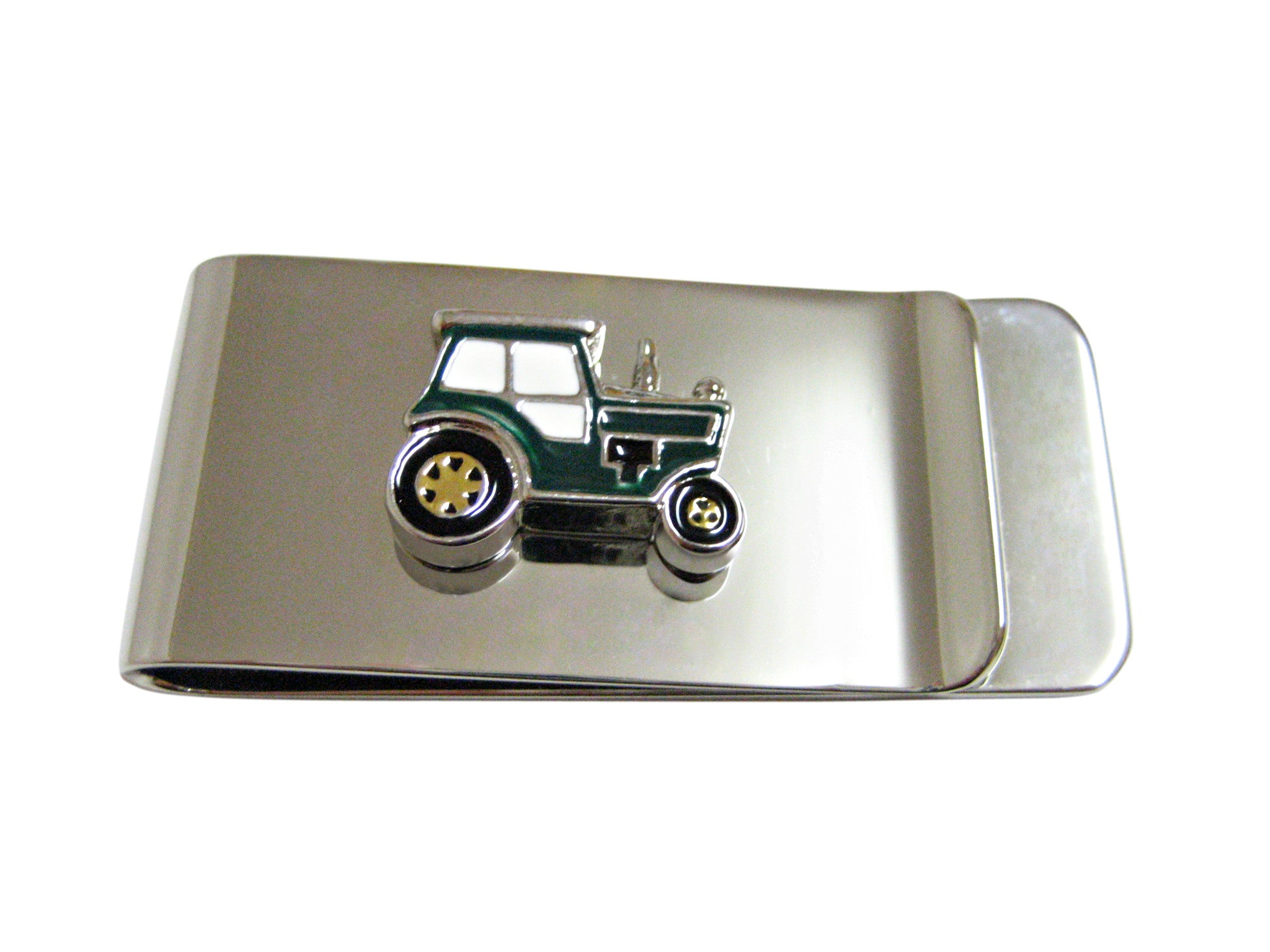 Green Classic Farm Tractor Money Clip