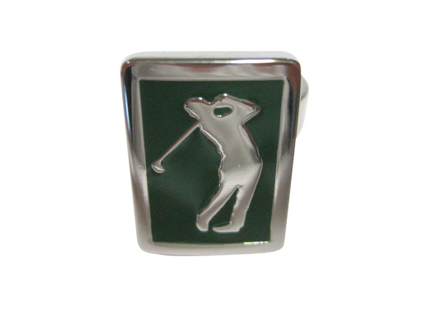 Green Golf Golfer Adjustable Size Fashion Ring