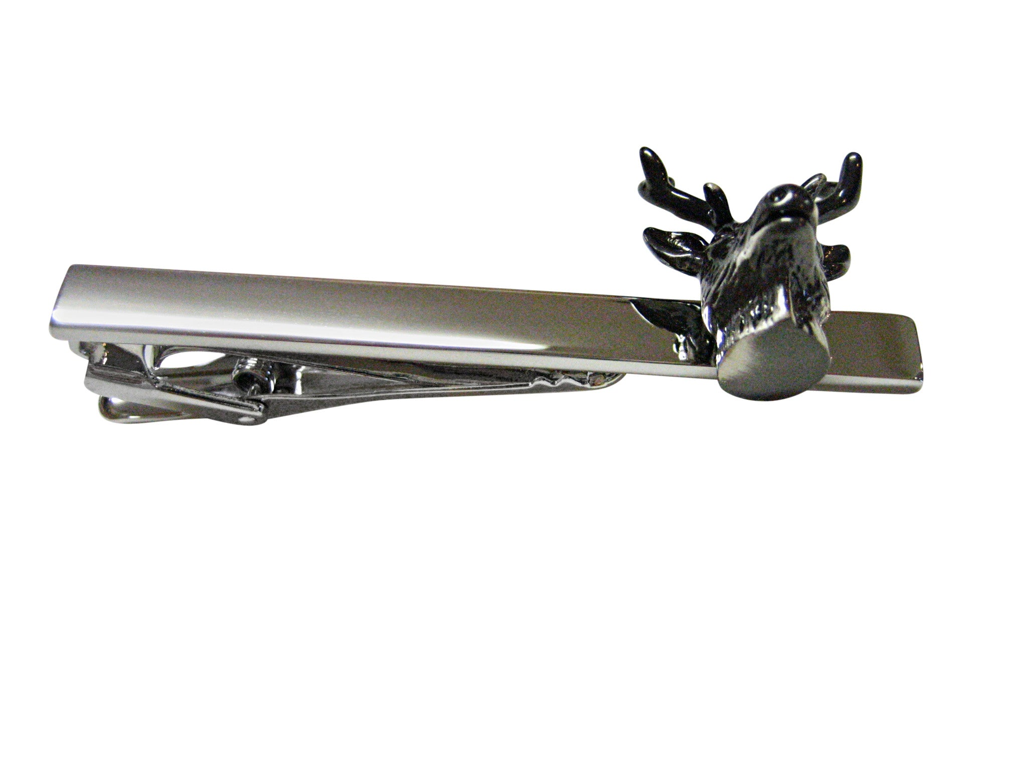 Gunmetal Toned Deer Head Square Tie Clip