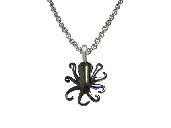 Gunmetal Toned Octopus Pendant Necklace