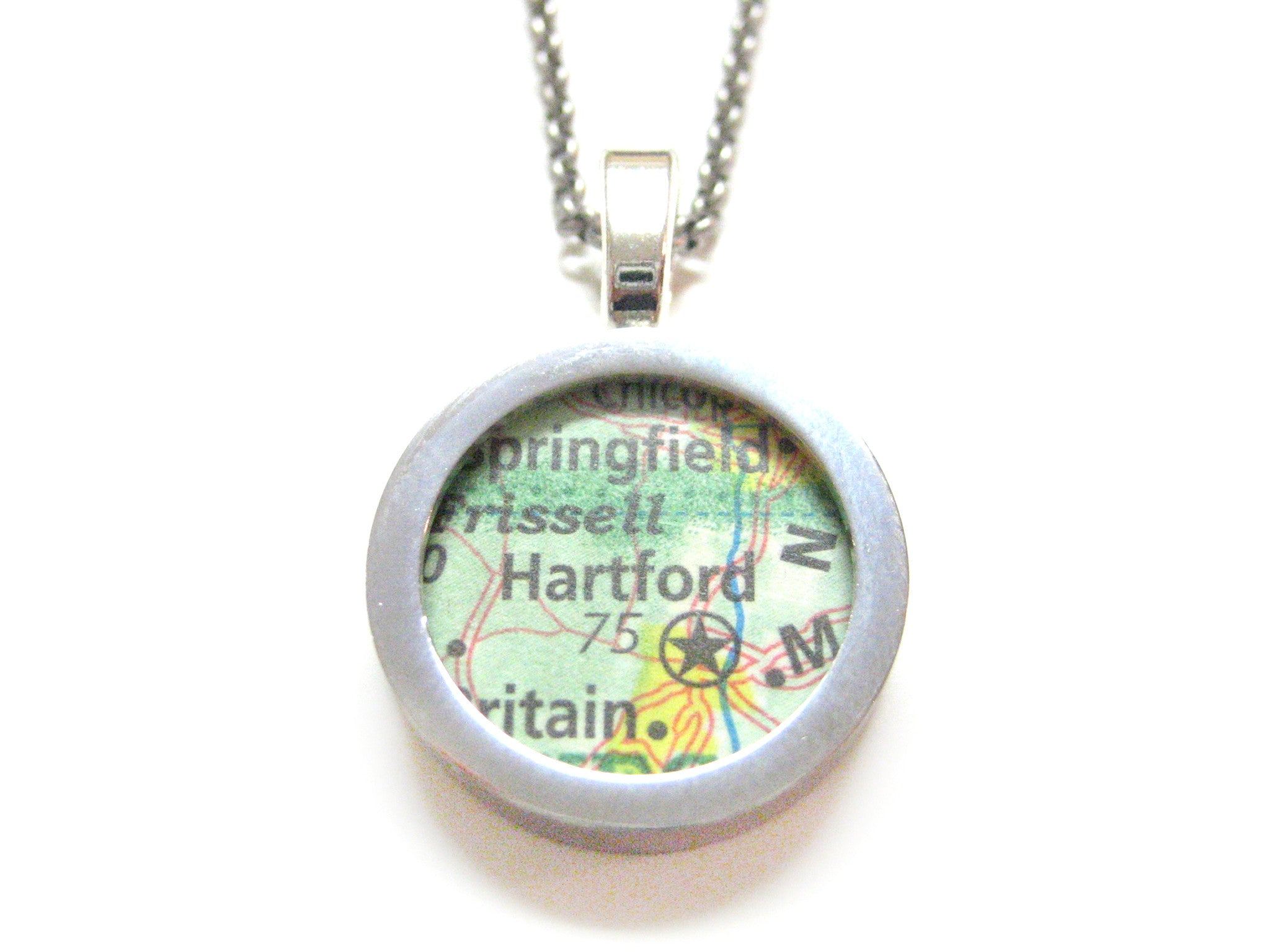 Hartford Connecticut Map Pendant Necklace