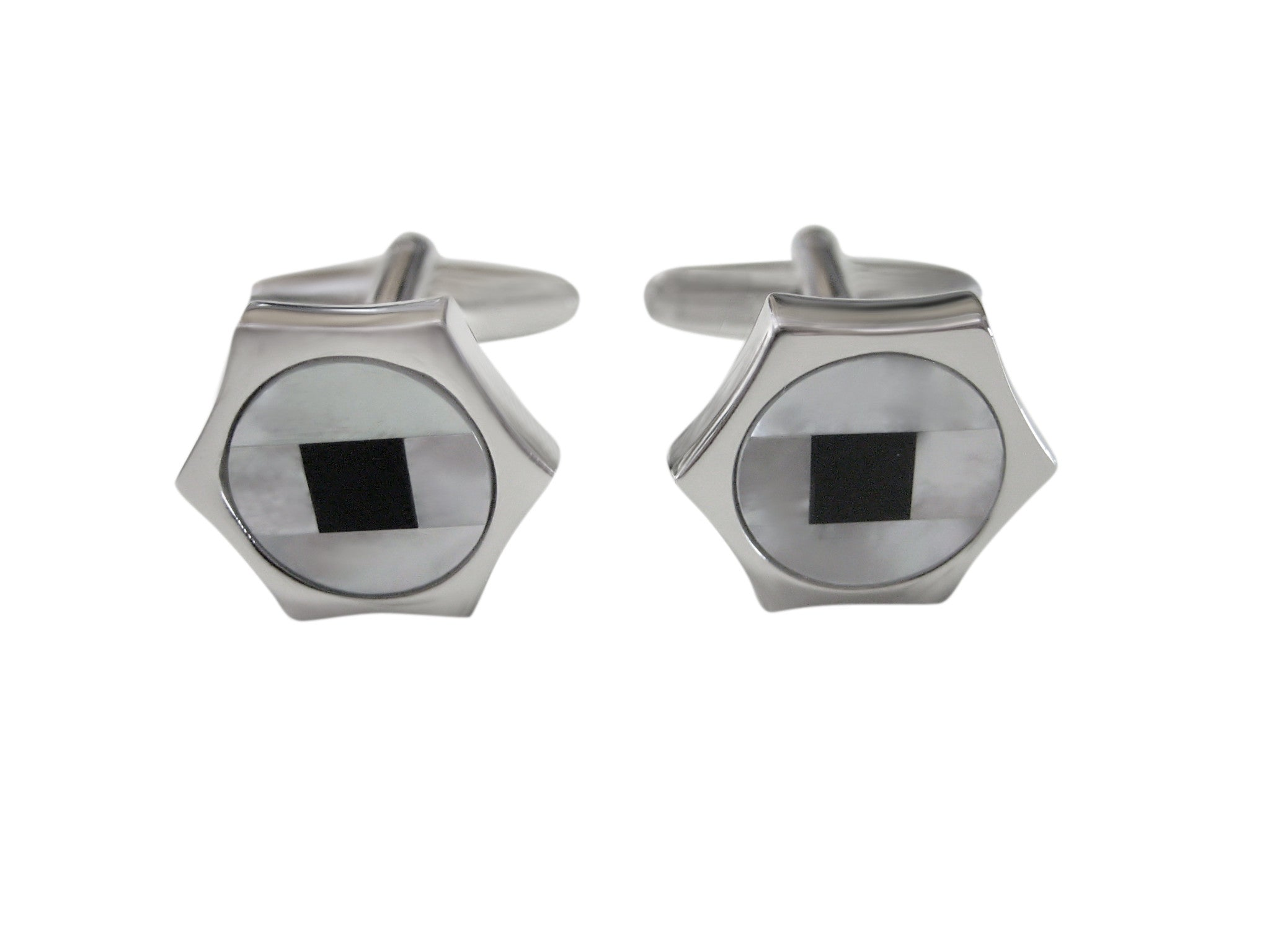 Hexagon Design Cufflinks with Black Square Center
