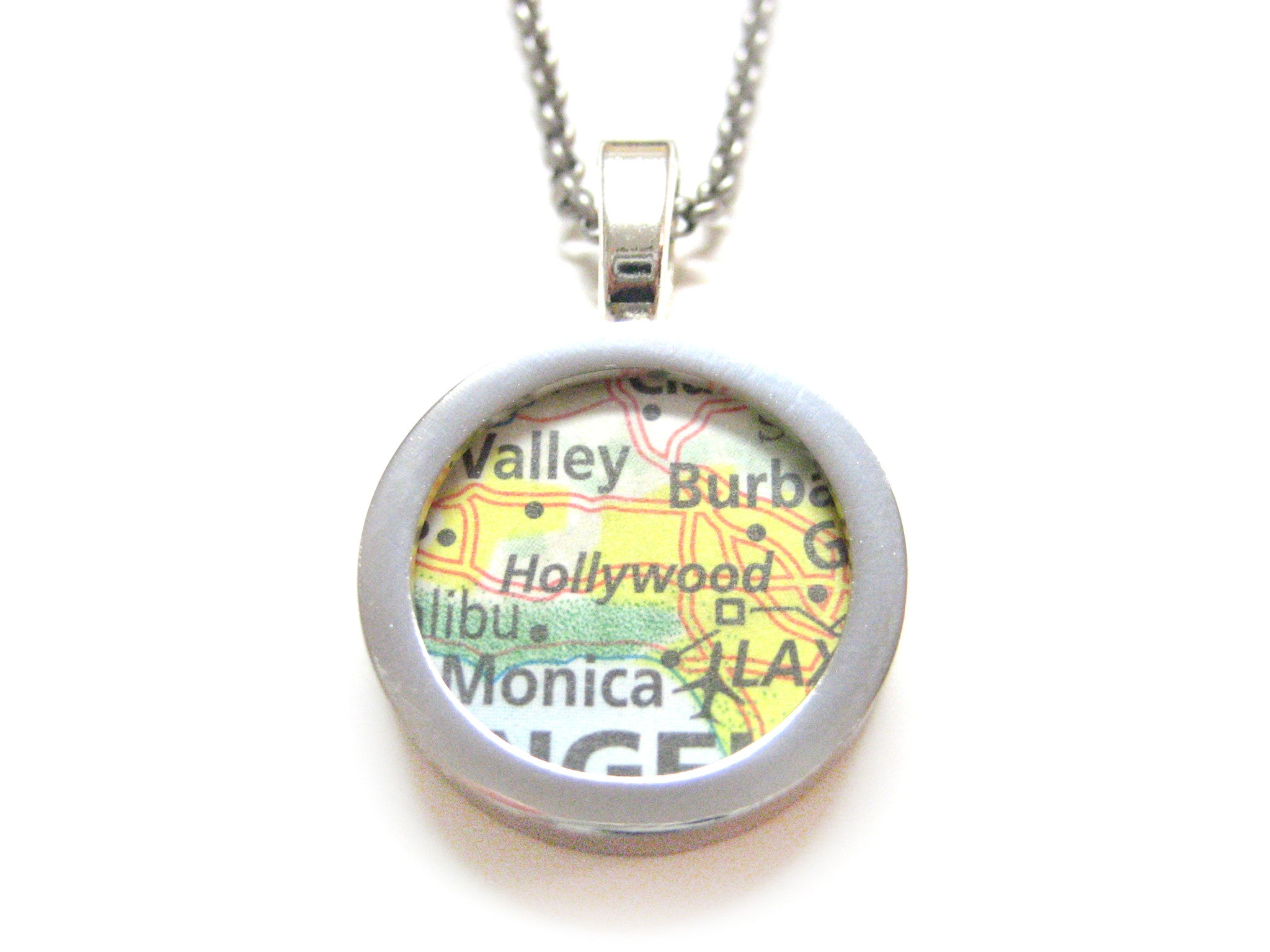 Hollywood California Map Pendant Necklace