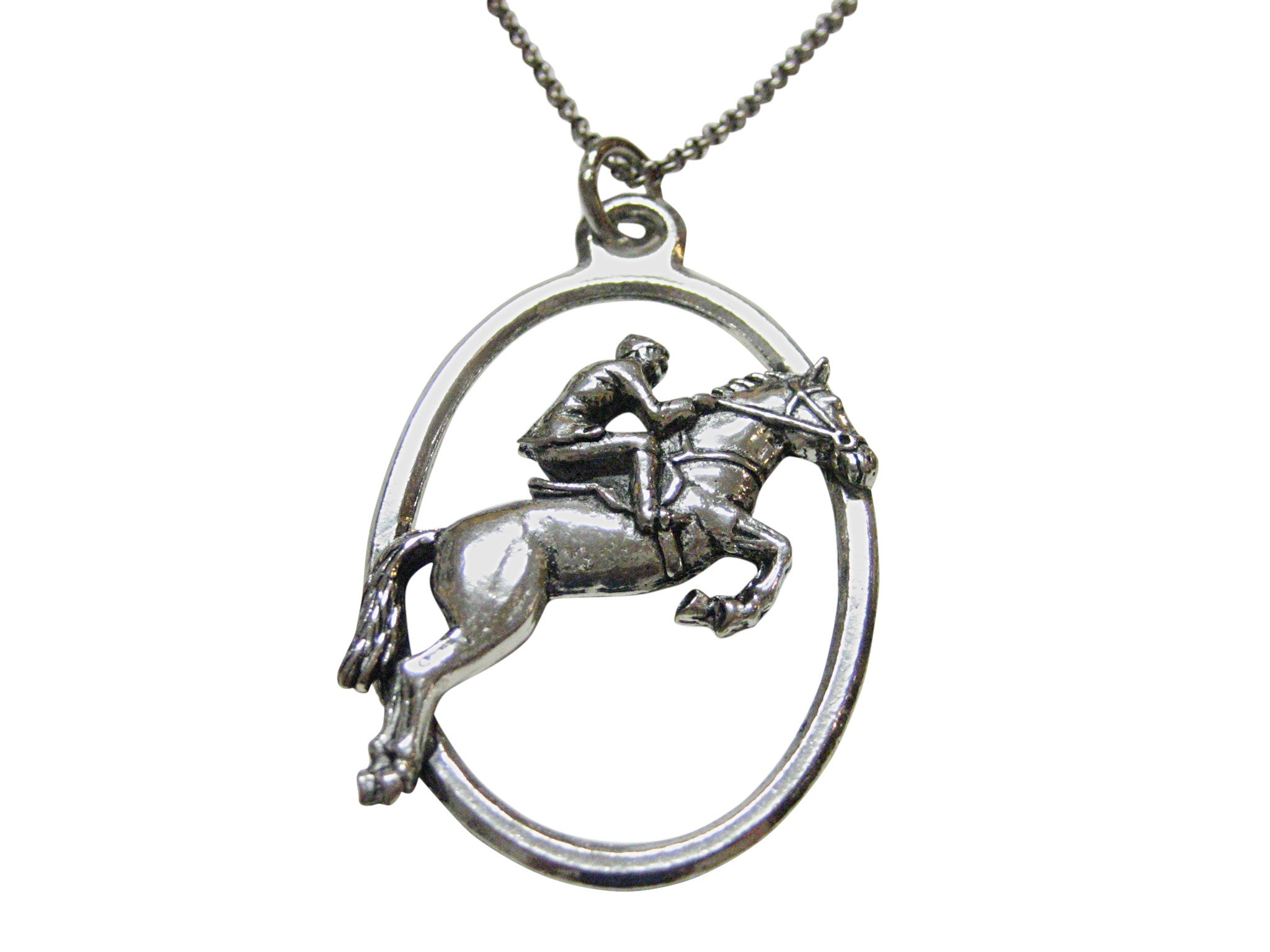 Horse Racing Jockey Large Oval Pendant Necklace