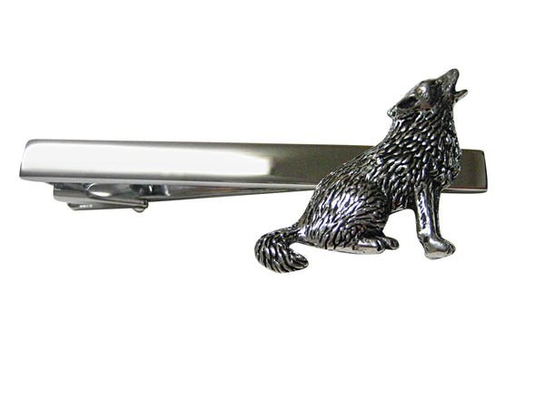 Howling Wolf Square Tie Clip