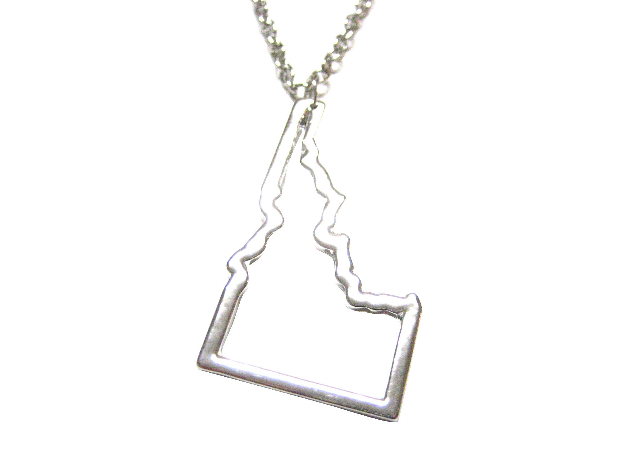 Silver Toned Idaho State Map Outline Pendant Necklace
