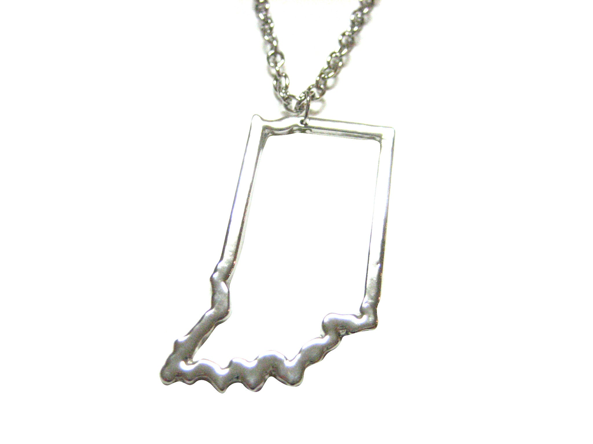 Silver Toned Indiana State Map Outline Pendant Necklace