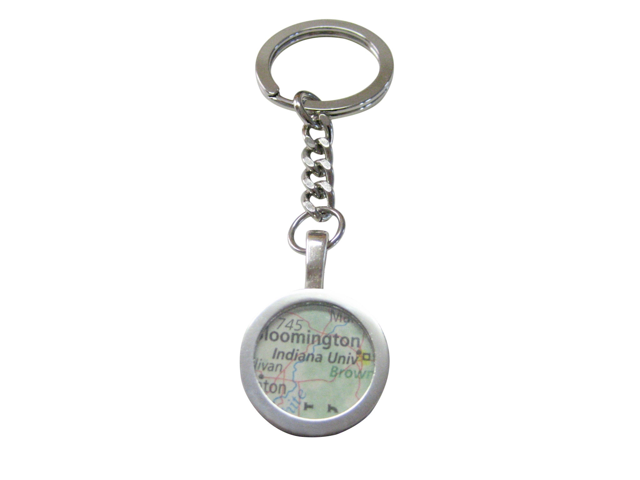 Indiana University Map Pendant Keychain