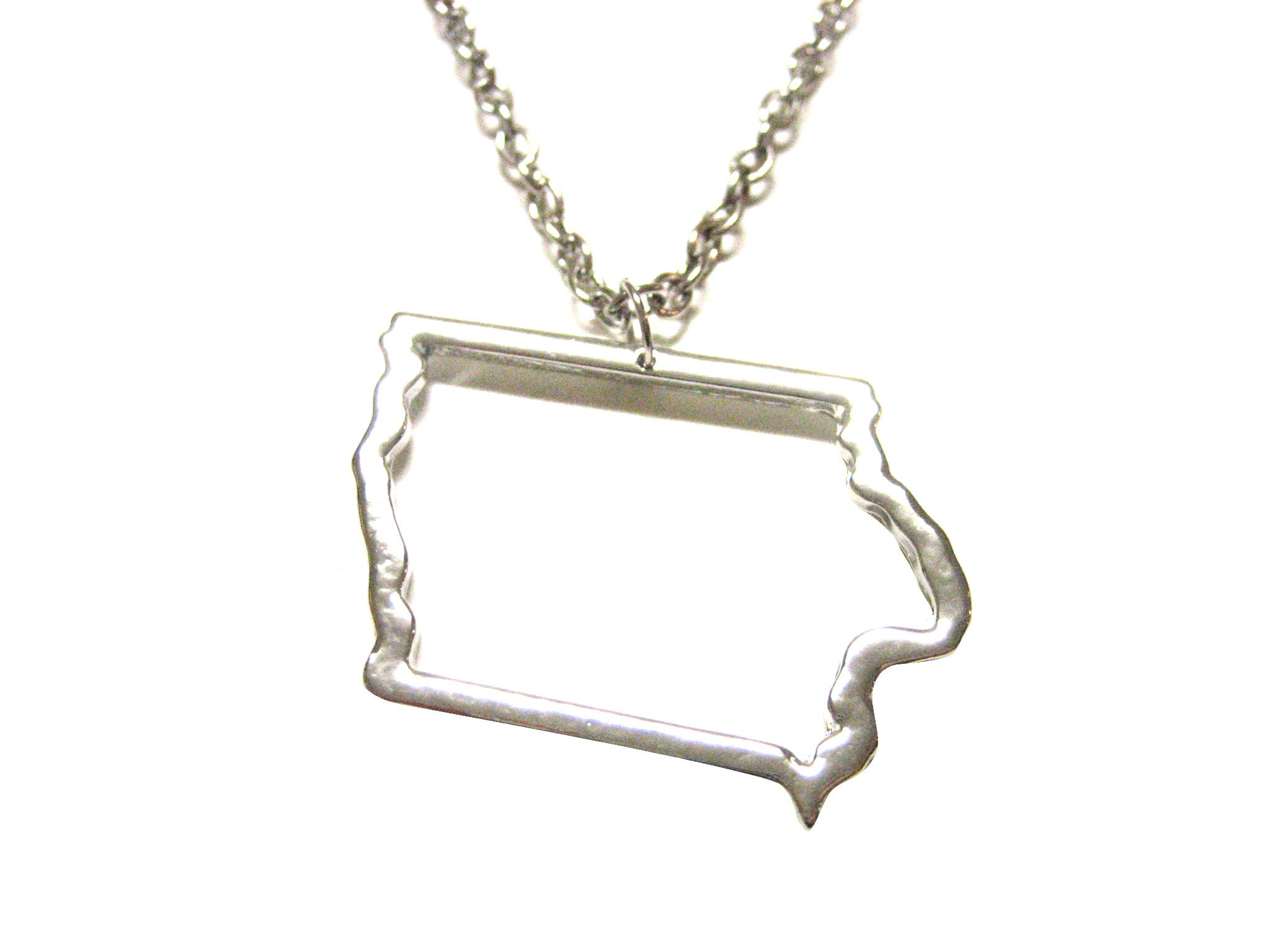 Silver Toned Iowa State Map Outline Pendant Necklace