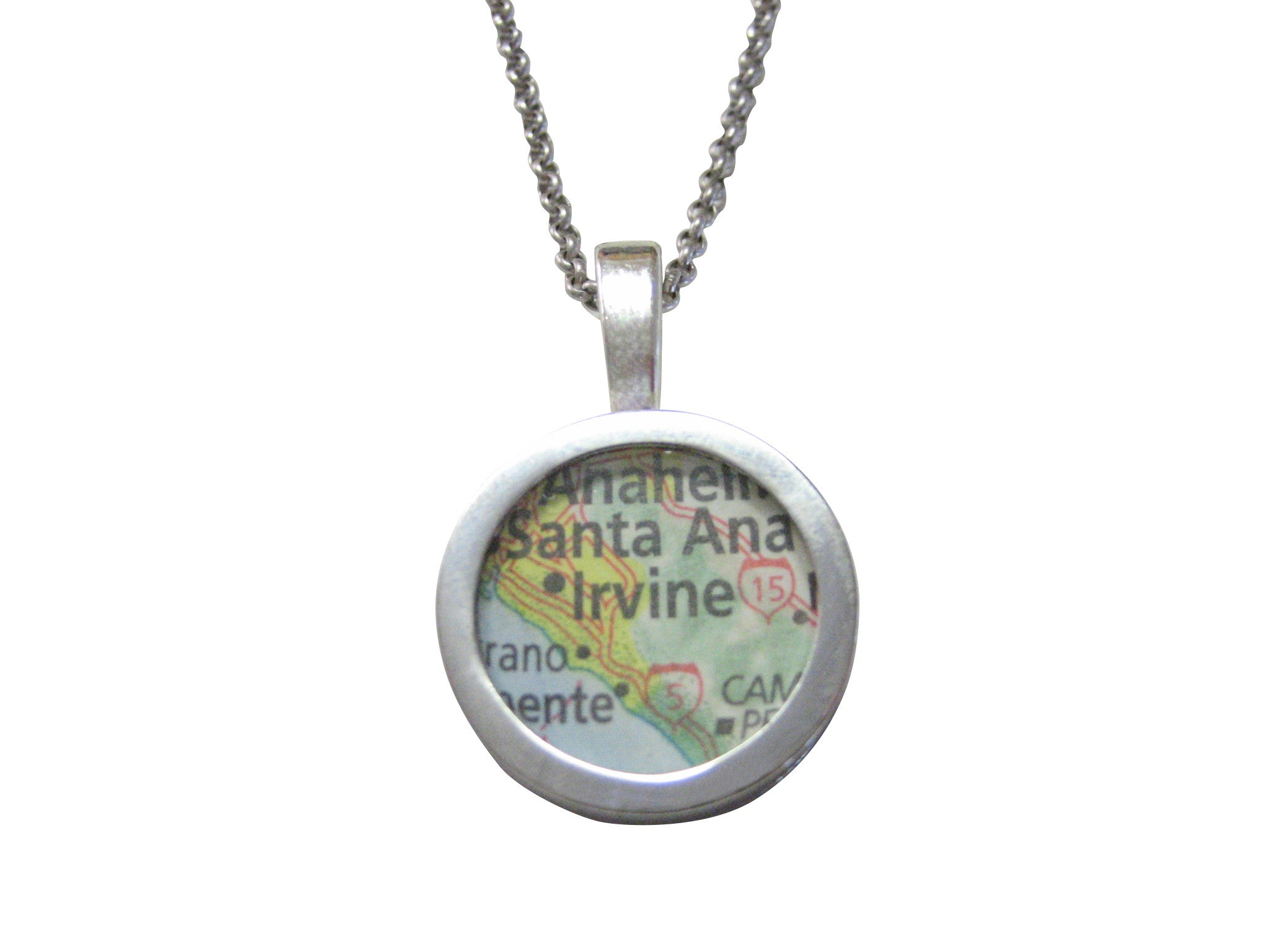Irvine California Map Pendant Necklace