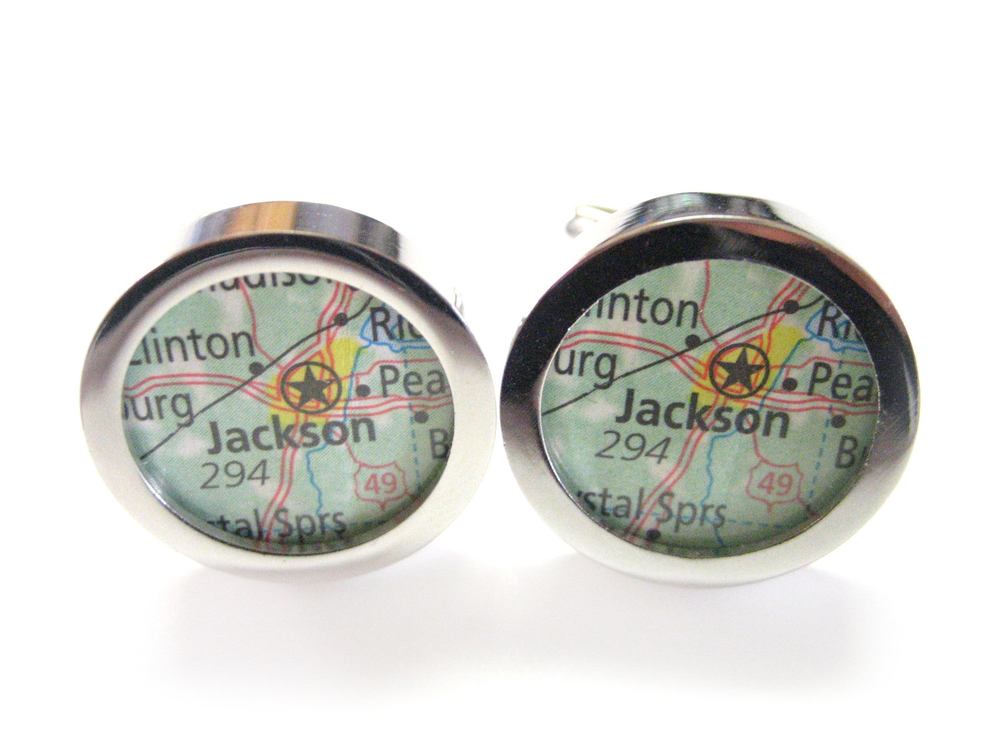 Jackson Mississippi Map Cufflinks