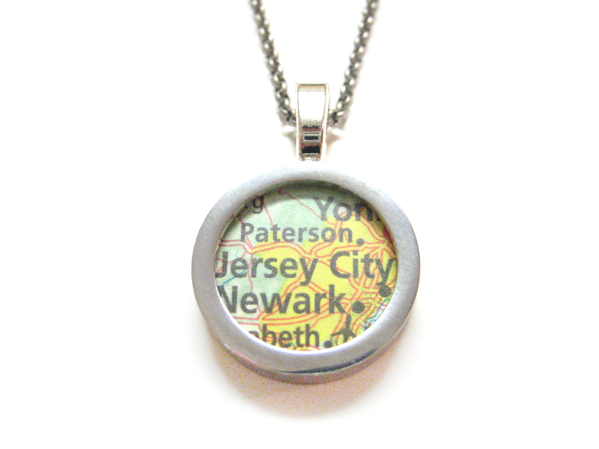 Jersey City New Jersey Map Pendant Necklace