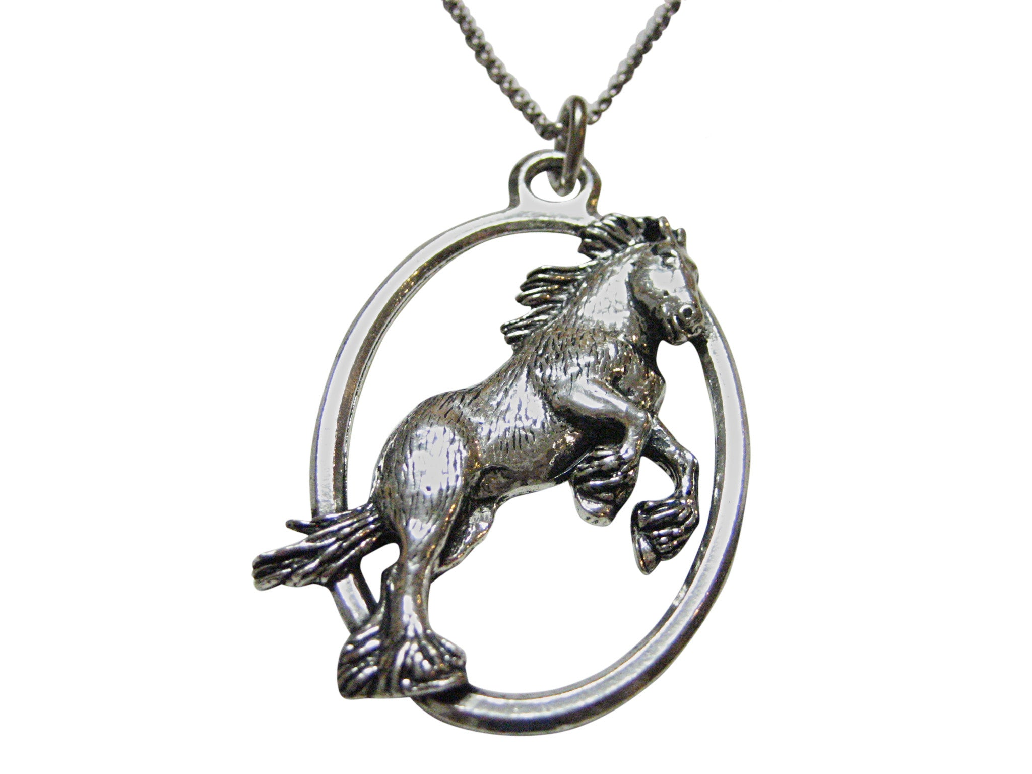 Jumping Wild Horse Large Oval Pendant Necklace