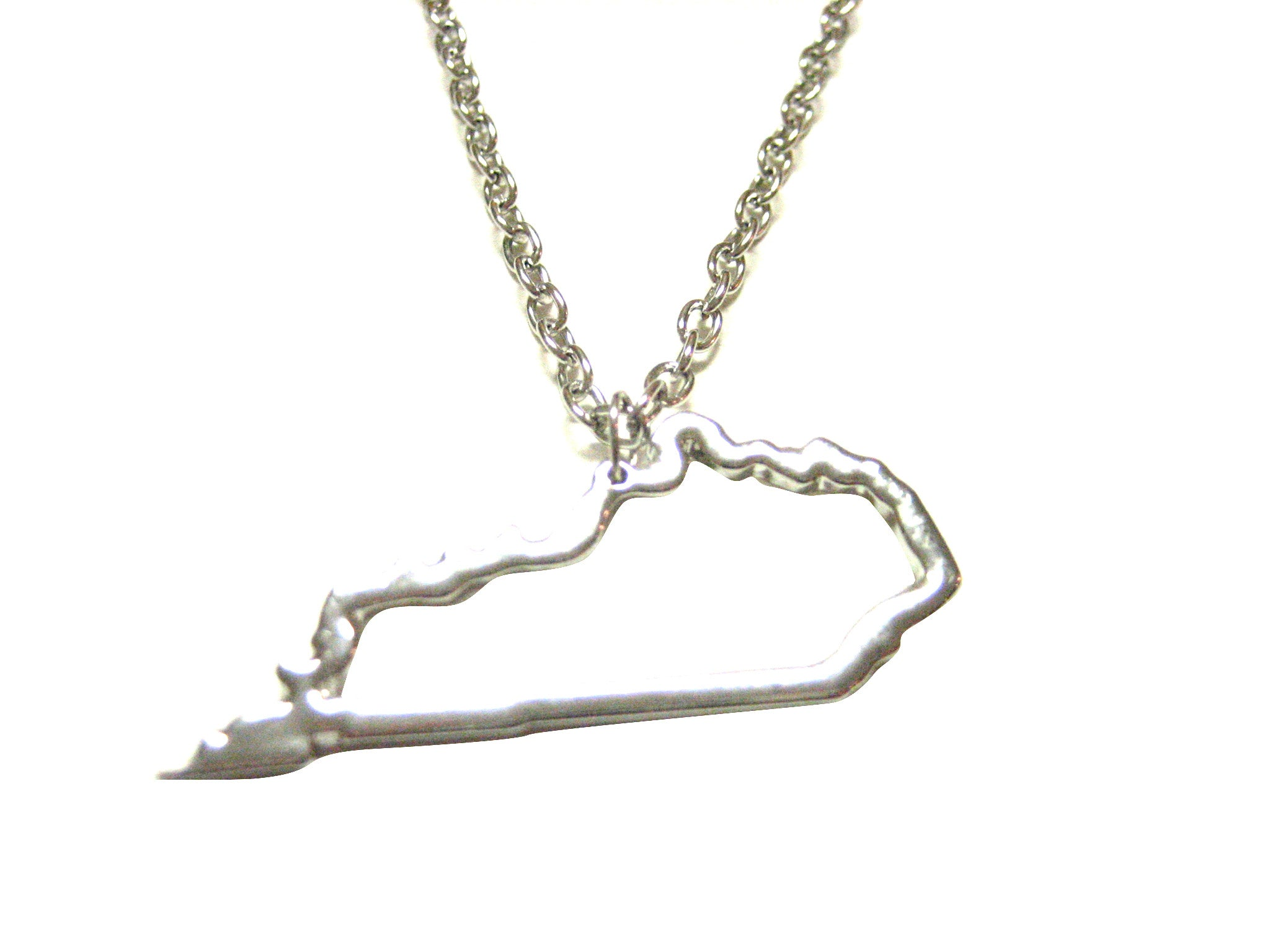 Silver Toned Kentucky State Map Outline Pendant Necklace