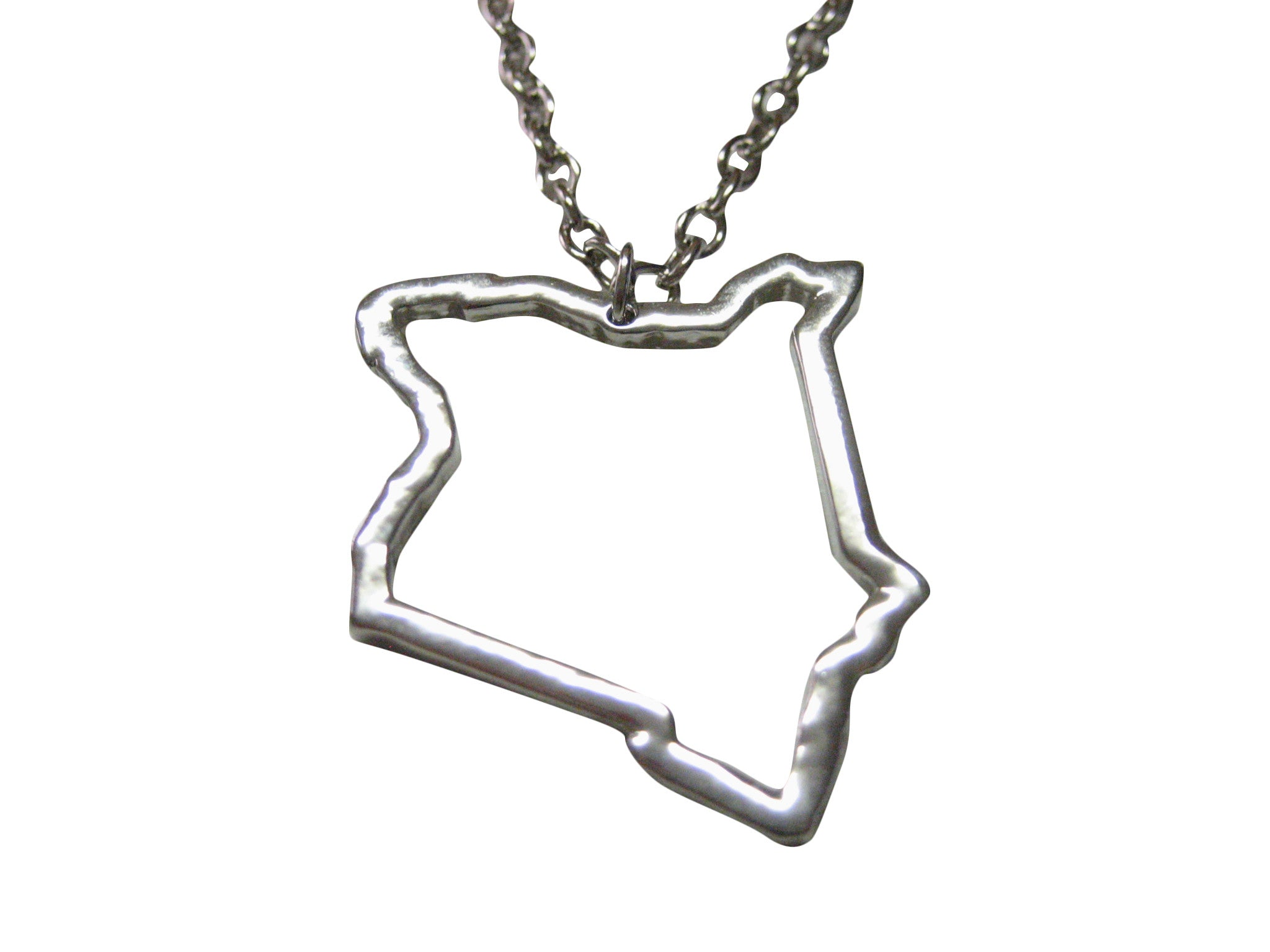 Silver Toned Kenya Map Outline Pendant Necklace