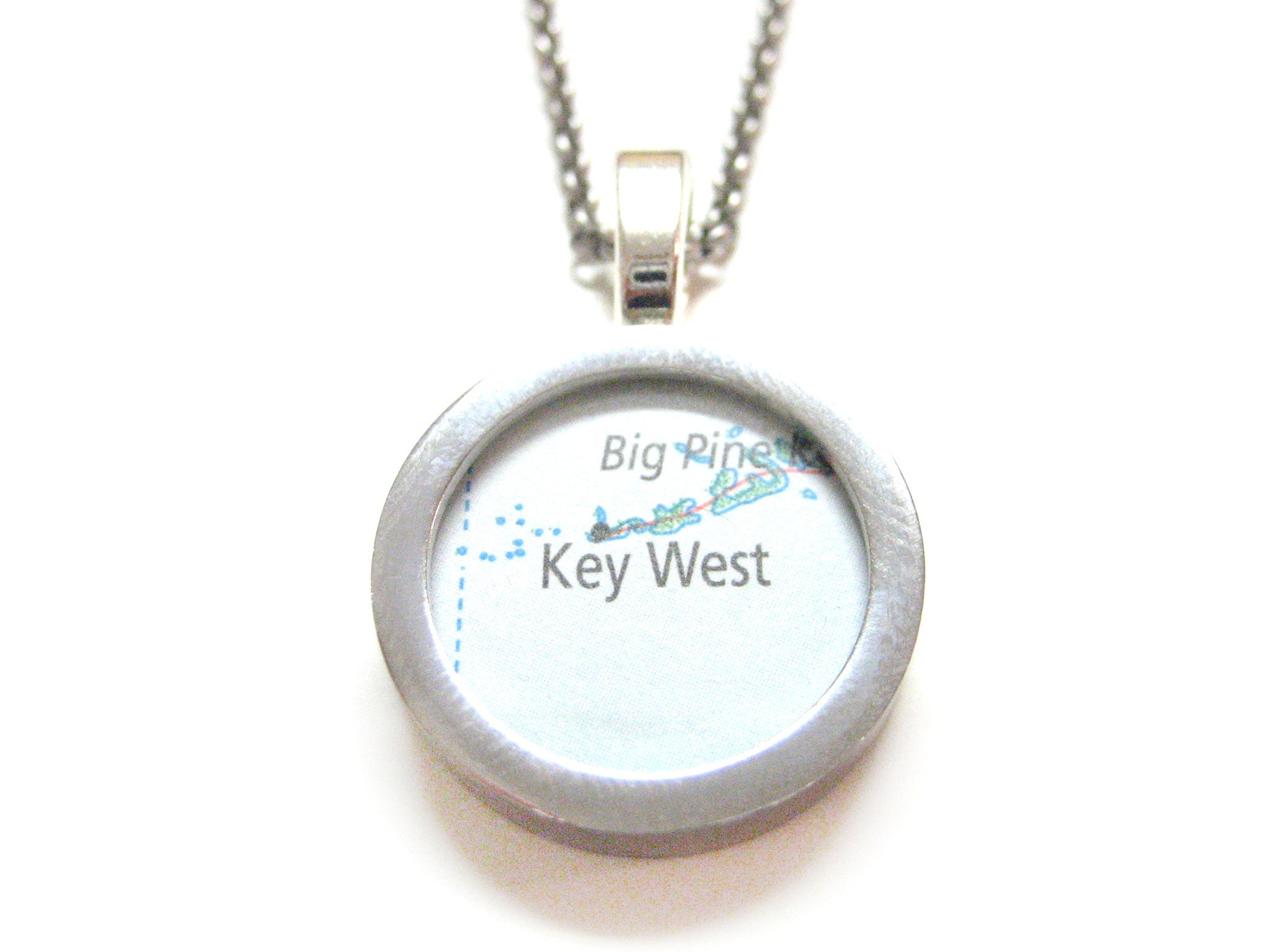 Key West Florida Map Pendant Necklace
