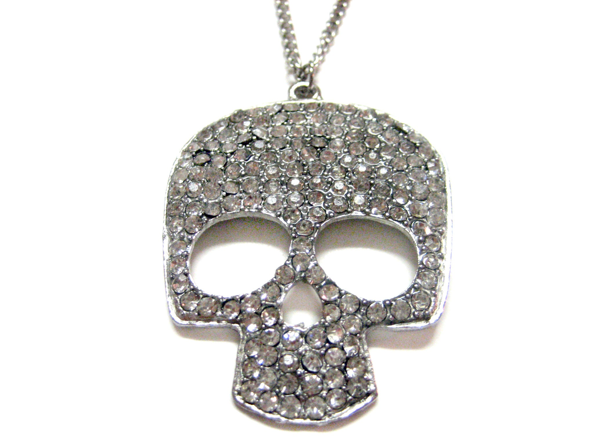 Large Crystallized Silver Toned Skull Pendant Necklace